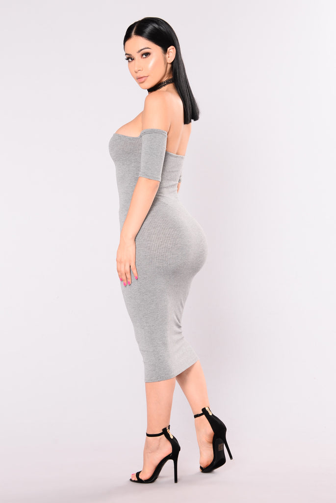 Lola Off Shoulder Dress - Grey