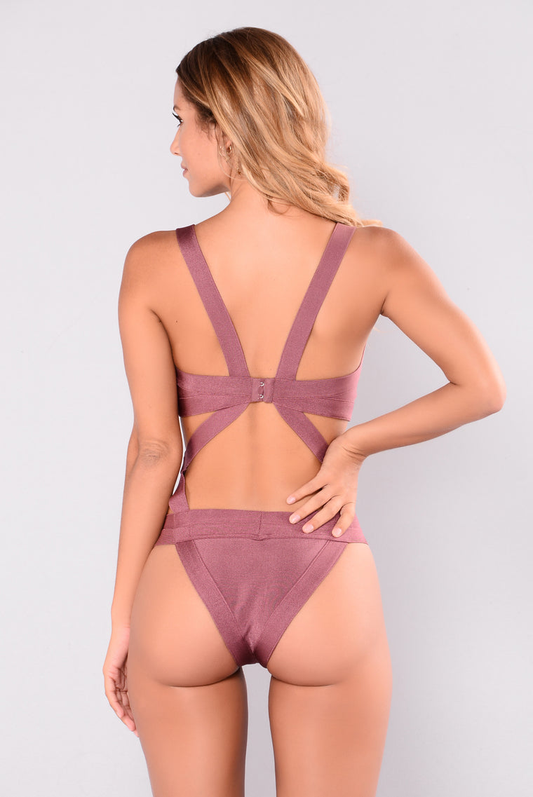 Siempre Bandage Swimsuit - Rose Brown