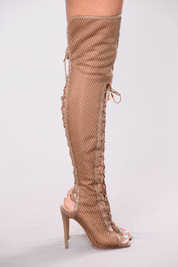 Azure Lace Up Heel Boot - Taupe