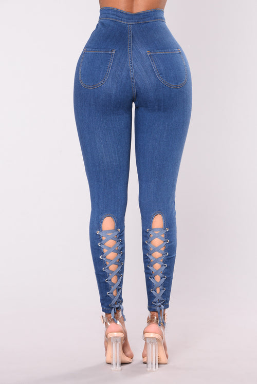 Bonny Lace Up Jeans Medium