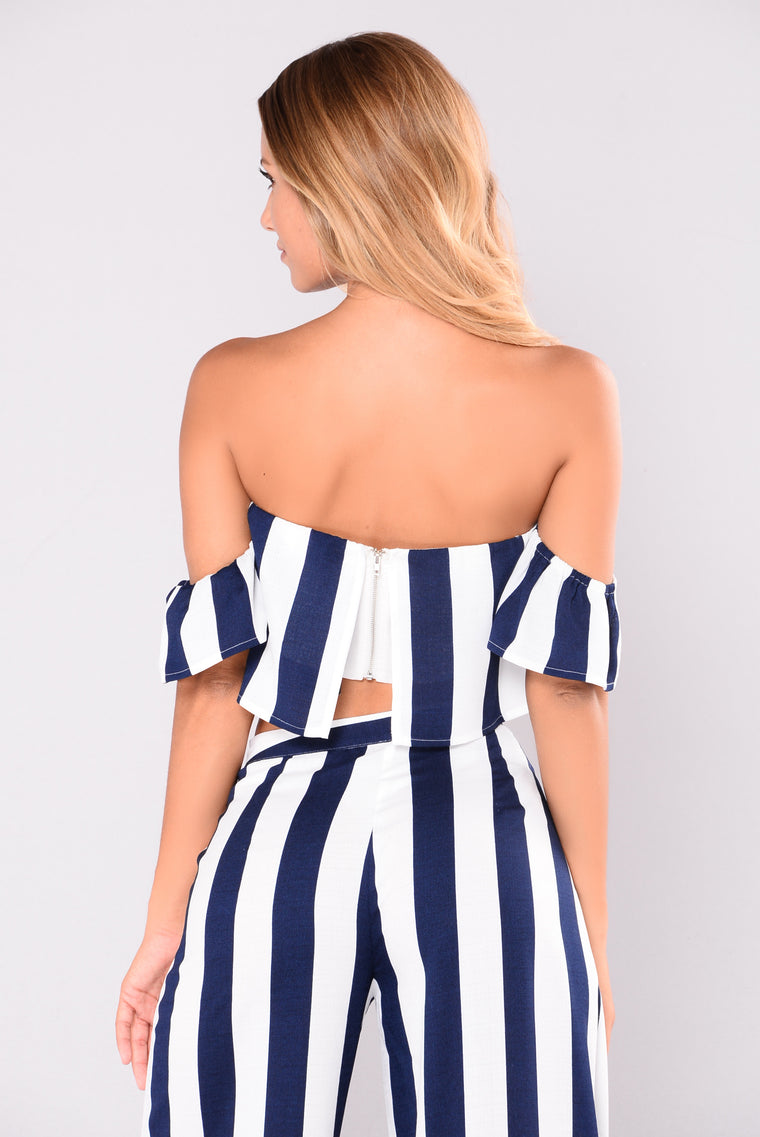 Clarissa Striped Set - Navy