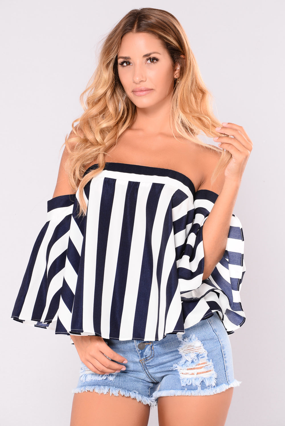 Rhea Off Shoulder Top - Navy