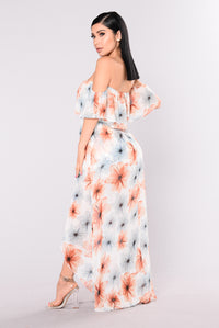 Let Desire Lead Floral Dress - Ivory Floral Angle 4