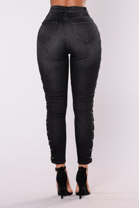 Rodeo Lace Up Jean - Black