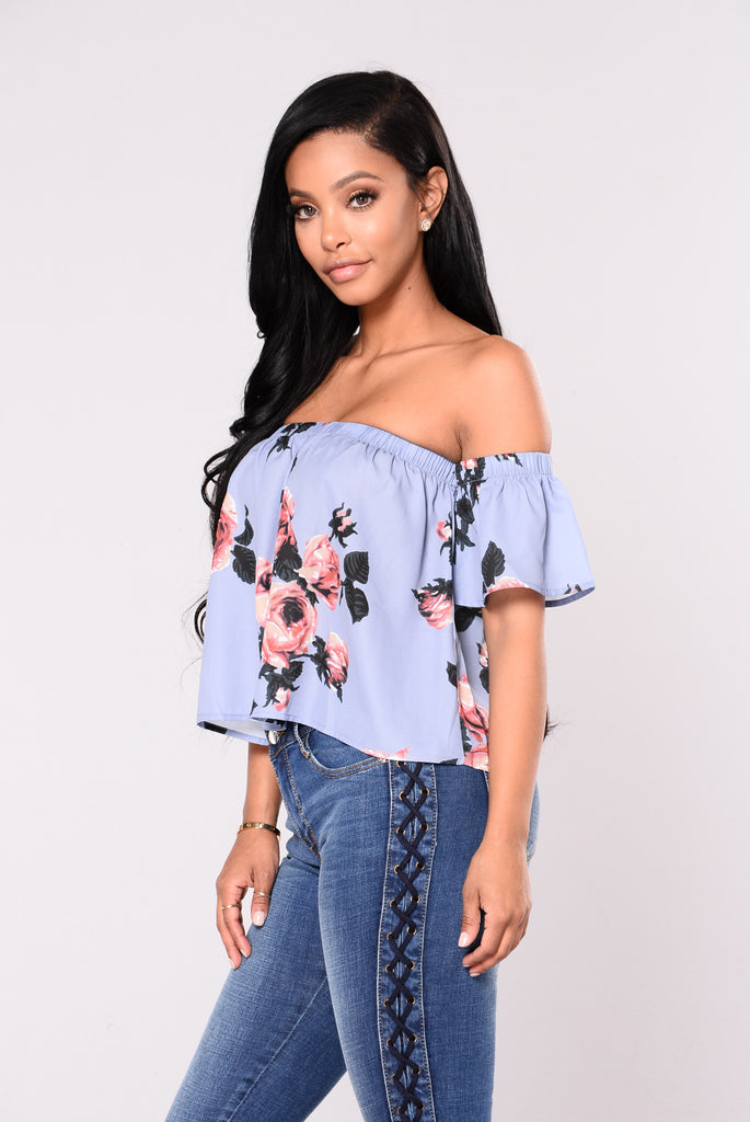 Claudia Floral Top - Blue/Floral
