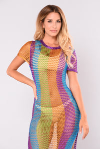 Disco Inferno Crochet Dress - Multi