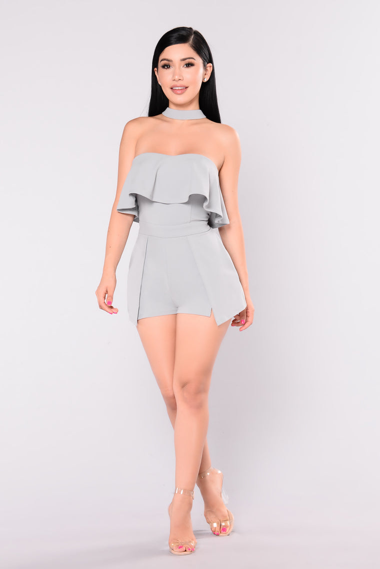 Never Alone Choker Romper - Grey