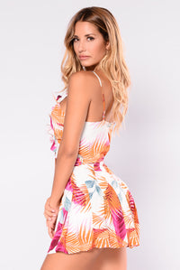 Sand Dollar Romper - Ivory Tropical