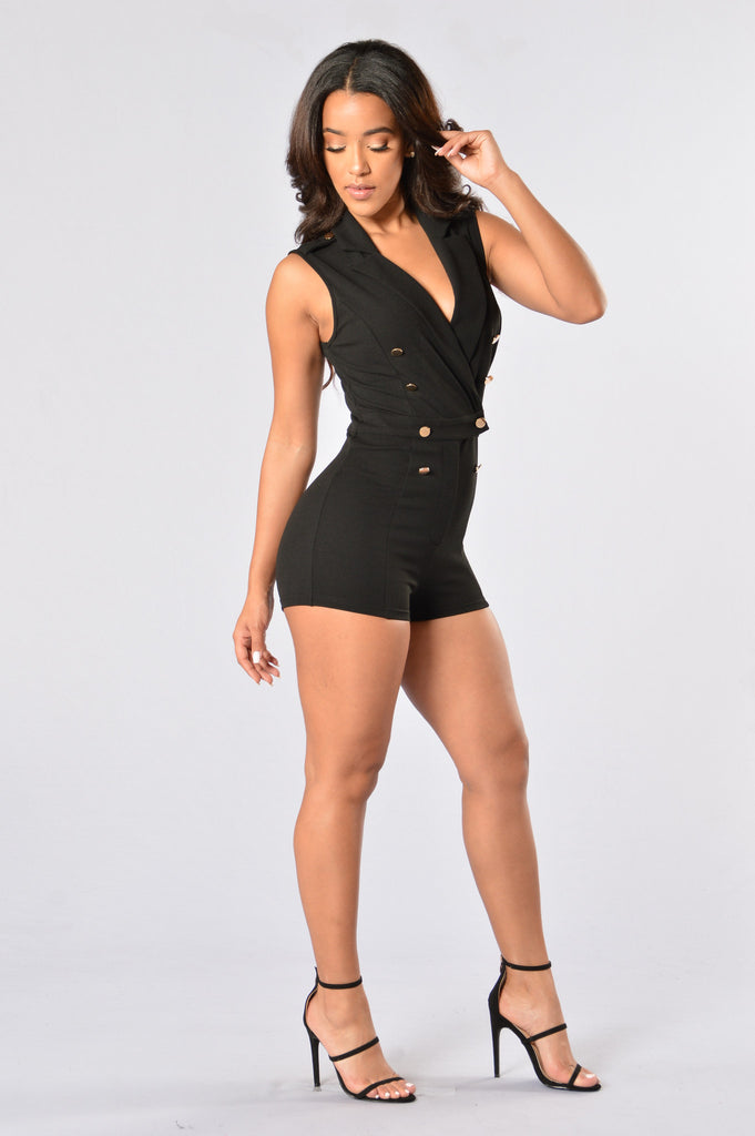 Just A Phase Romper - Black
