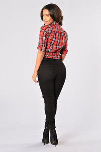 American Summer Plaid Crop Top - Red