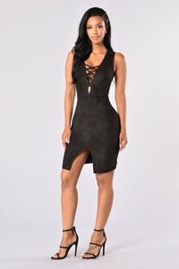 Velveteen Dress - Black Angle 1
