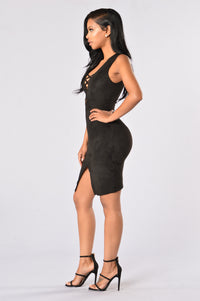 Velveteen Dress - Black Angle 3