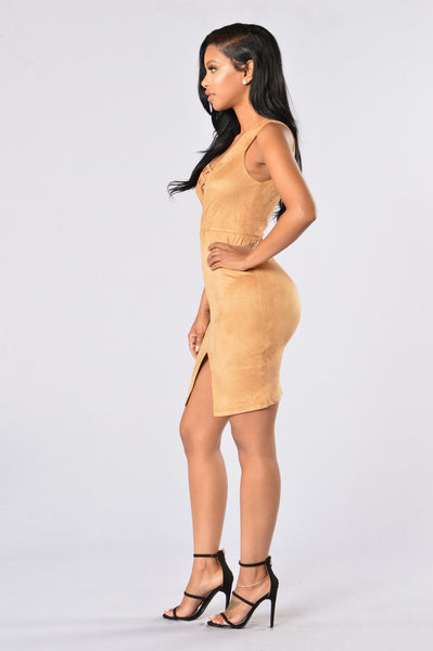 Velveteen Dress - Taupe