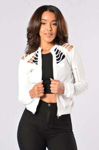 Locked Away Bomber Jacket - Ivory Angle 1