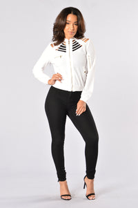 Locked Away Bomber Jacket - Ivory Angle 7