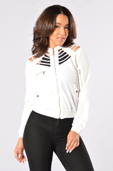 Locked Away Bomber Jacket - Ivory