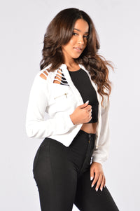 Locked Away Bomber Jacket - Ivory Angle 4