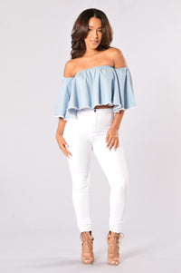 Baby One More Time Top - Light Denim Angle 6