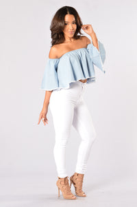 Baby One More Time Top - Light Denim Angle 4