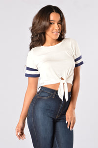 Touchdown Crop Top - White