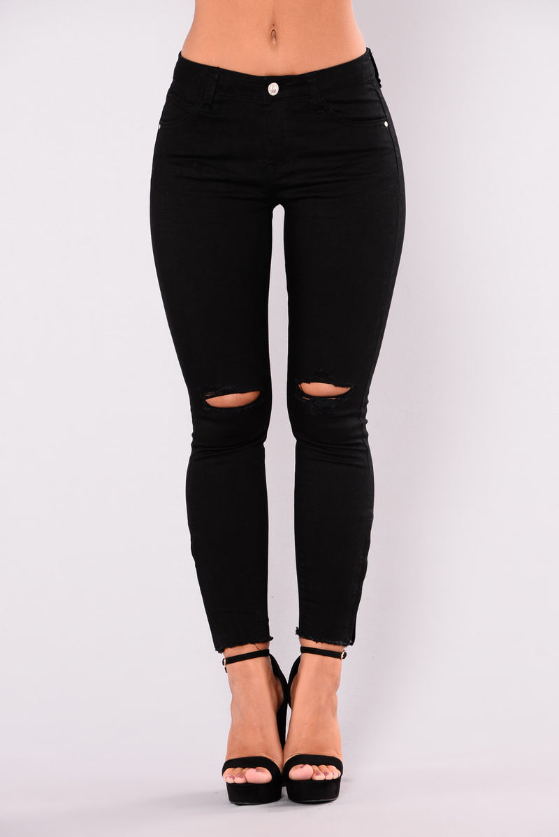 True To Self Zipper Jeans - Black