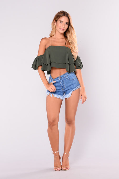 Bound To Glow Top - Olive