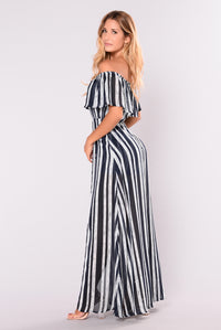 Monte Carlo Striped Dress - Navy