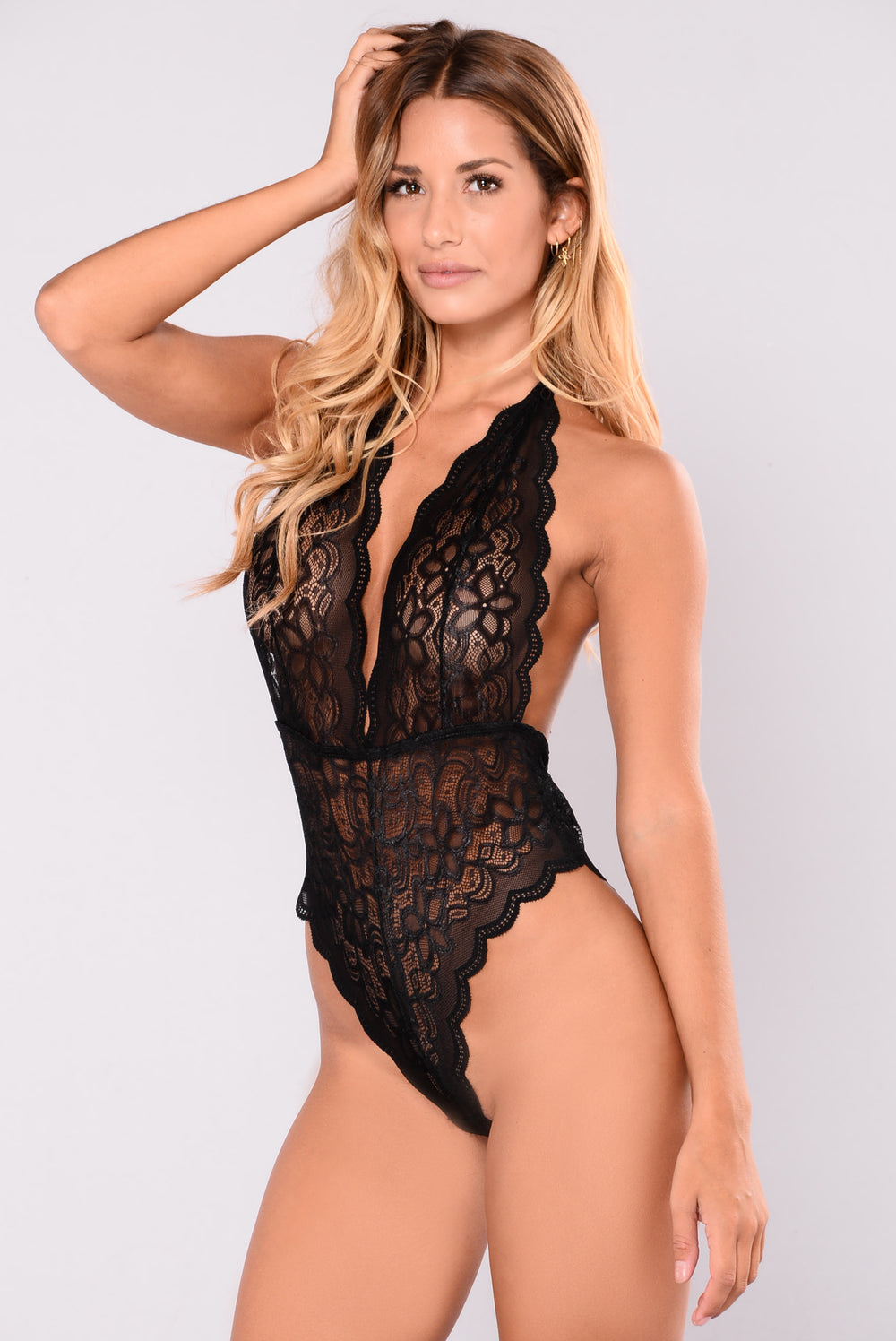 Hung Up On You Halter Teddy - Black