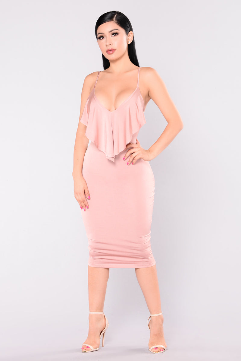 Wife You Up Satin Dress - Rose Gold