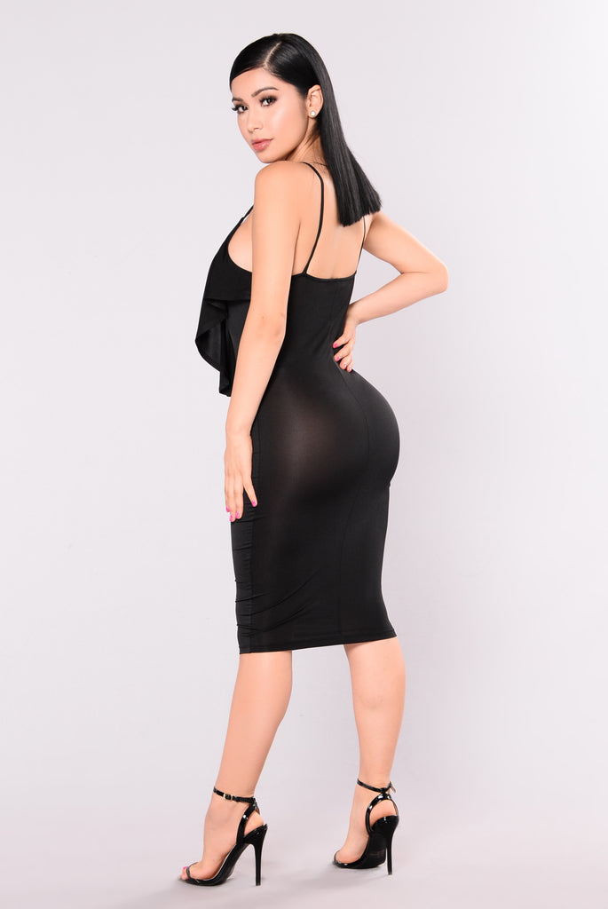 Wife You Up Satin Dress - Black