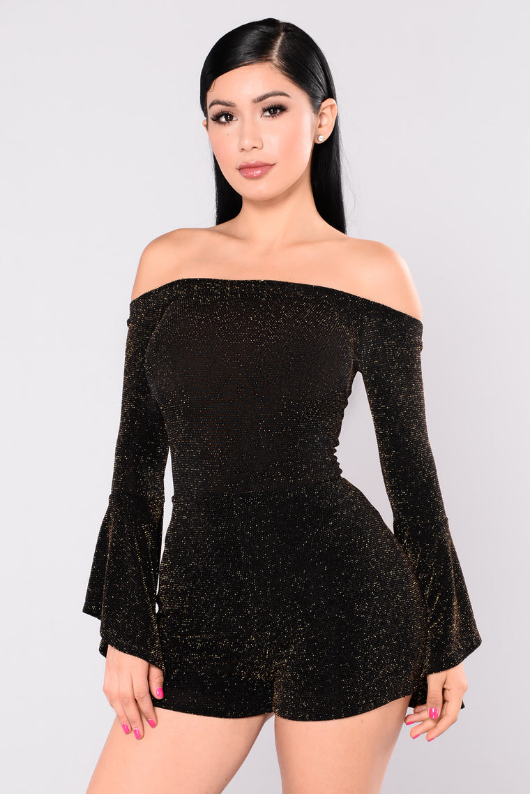 Nobody But You Glitter Romper - Black