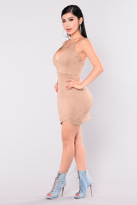 Daddy's Girl Lace Up Dress - Nude