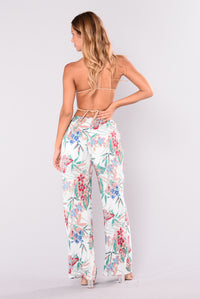 Forbidden Fruit Printed Pants - Ivory Multi