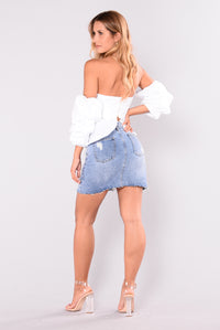 Zoella Denim Skirt - Light Blue