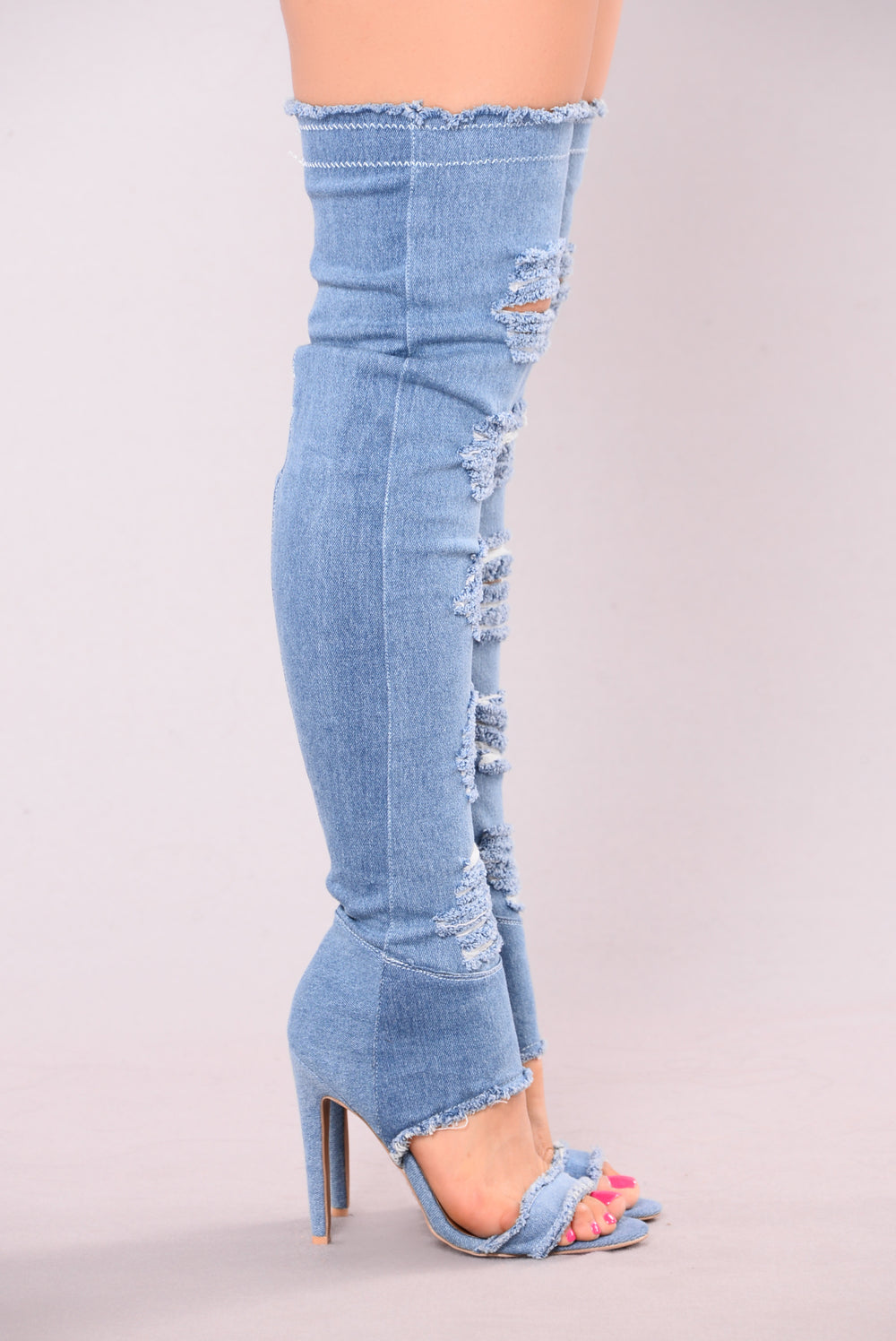Darlene Denim Heel Boot - Light Denim