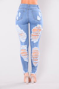 Walk It Out Distressed Jeans - Medium Angle 3