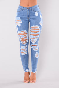 Walk It Out Distressed Jeans - Medium Angle 2