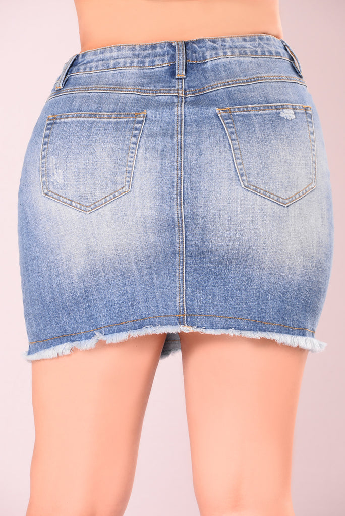 Kiss Kiss Denim Skirt - Med Denim