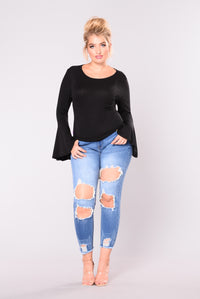 Quincie Bell Sleeve Top - Black