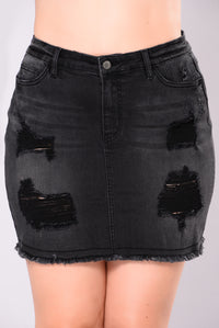 Cyclone Denim Skirt - Black