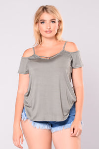 The Finale Off Shoulder Top - Olive