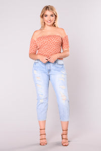 Sweet Lies Off Shoulder Top - Rust