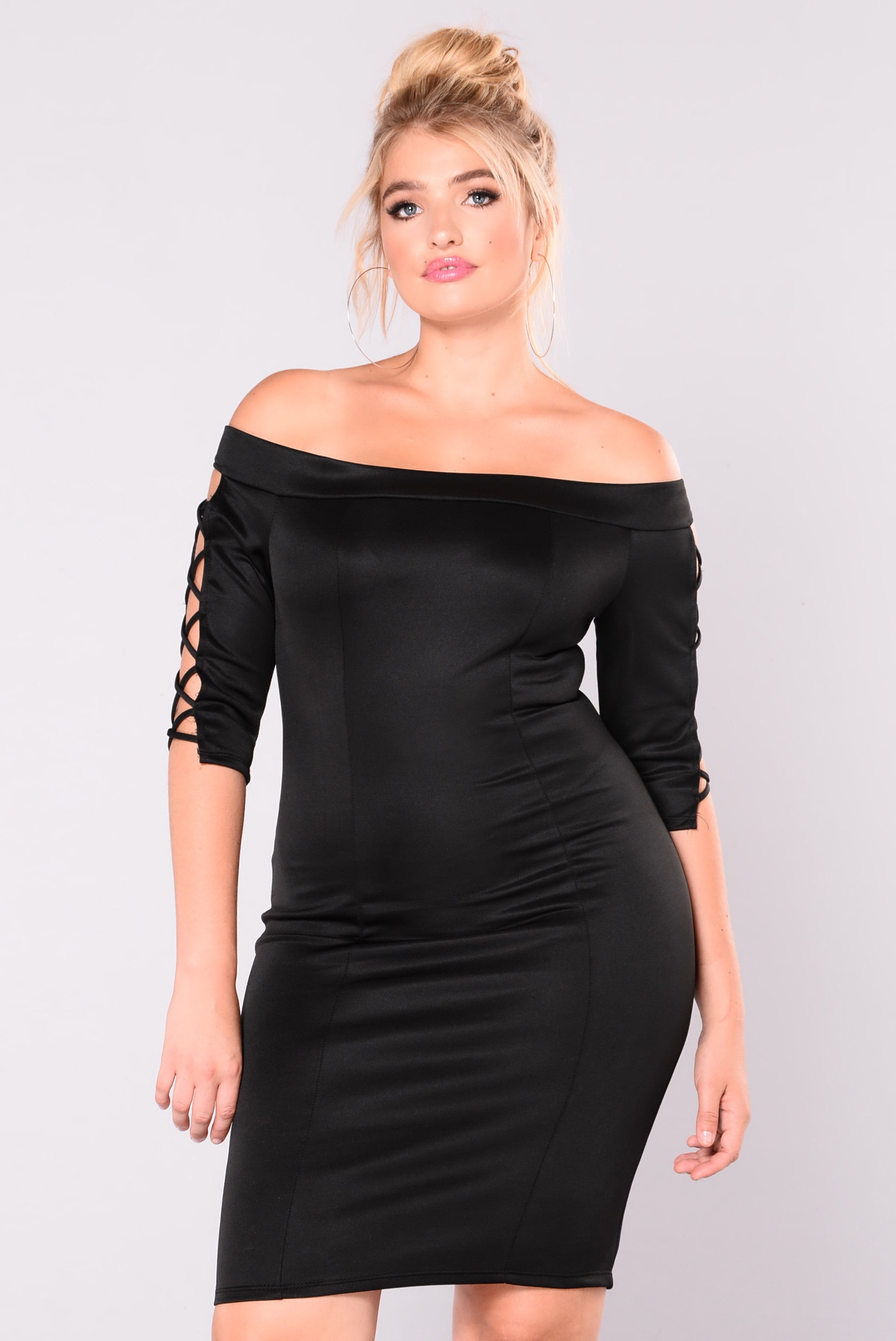Lace Up To Make Up Dress - Black