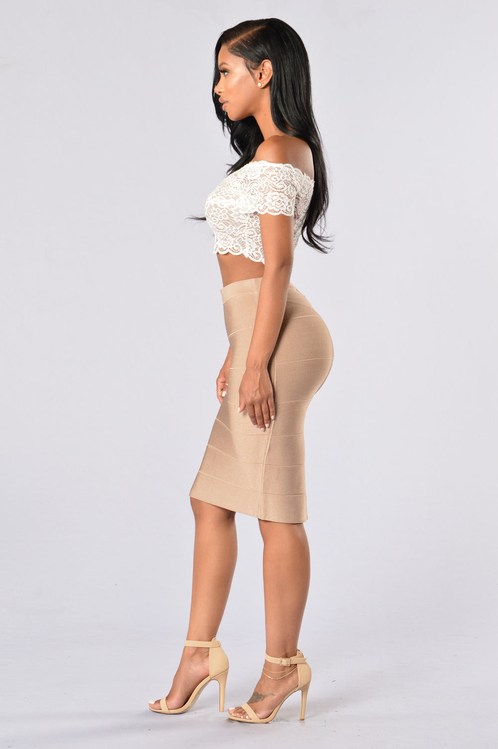 Fit To Me Bandage Skirt - Camel