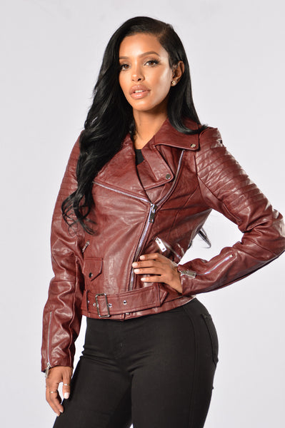 Araxie Moto Jacket - Burgundy