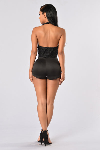 Next Round Romper - Black