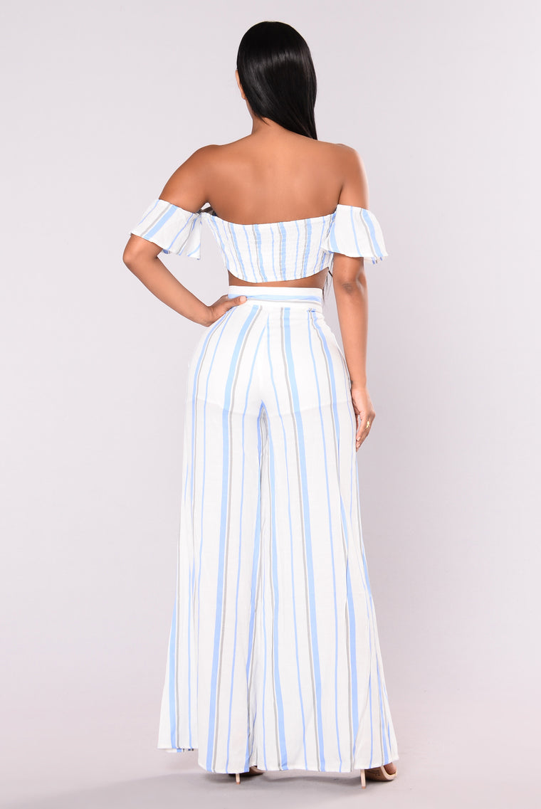 Saturday Brunch Striped Top - Light Blue/ White