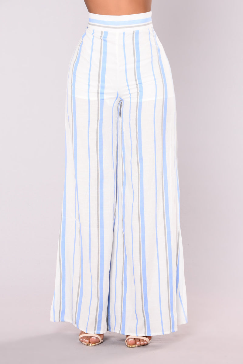 Saturday Brunch Striped Pants - Light Blue/White
