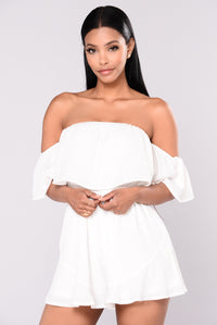 Caribbean Sea Off Shoulder Romper - White