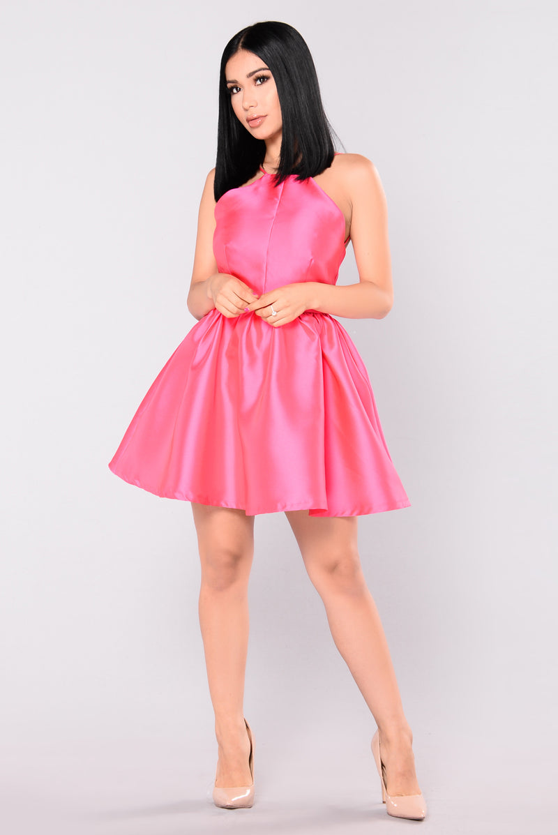 Buttercup Satin Dress - Pink